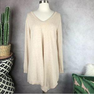 LOGO Cotton Cashmere Asymmetrical Hem Sweater Beig